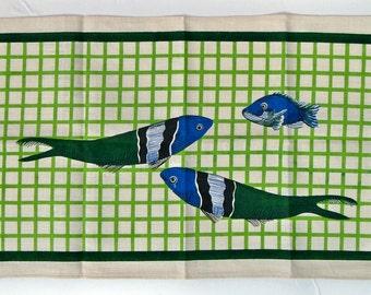 Vintage Linen Tea Towel - Green and Blue Fish