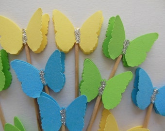Butterfly Cupcake Toppers - Yellow, Blue and Green - Bridal Shower Decorations - Baby Shower Decorations - Birthdays - Set of 12