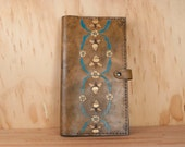 Leather Photo Album  - Wedding photo album - Melissa pattern with Bees in yellow, gold, turquoise and antique brown -
