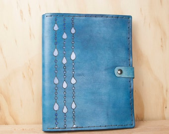 Leather iPad Case - Rain pattern in blue and white - Handmade for iPad, iPad Mini or iPad Air, or Kindle - Tablet Case