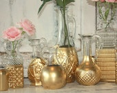 Gold dipped bottles, gold dipped vases, Set of 12 mixed glass bottles for gold wedding decor, gold centerpieces, table decor