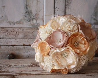 Yellow bridal bouquet, sola bloom and fabric flower wedding bouquet, pale yellow, champagne and cream ivory alternative bouquet, keepsake