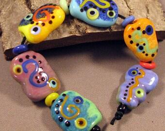 Handmade Lampwork Bead Set by Monaslampwork - Enameled Shapes - Handmade Lampwork by Mona Sullivan Boho Organic Tribal Gypsy Fine Stringer