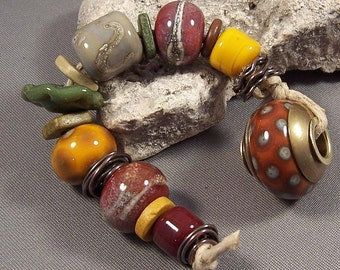 Handmade Lampwork Beads by Monaslampwork - Autumn Organics - Antique Brass Copper Components Colorful Lampwork Beads Boho Organic Gypsy