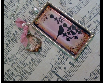 french inspired, Bird On A Chandelier, altered art pendants... includes a  gift box, vintage chic accessories