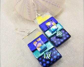 Unique and stylish, dichroic, dichroic earrings, blue earrings, birthday gifts, striped earrings, modern earrings, handmade, fusion,ooak