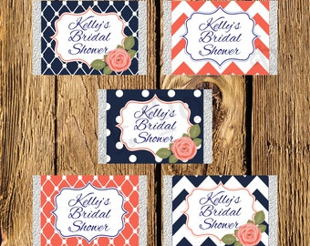 Printable Navy and Coral Bridal Shower Mini Candy Bar Wrappers
