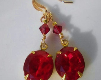 Ruby Red Swarovski Crystal Earrings Rhinestone Vintage Crystals
