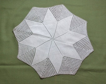 Large 15 inch 8-Pointed Star Vintage Crocheted Doily