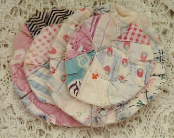 2 upcycled fabric flowers, cottage chic flower gift top, lot flower supplies, scrap flowers shabby upcycled quilt flower scrap appliques #32