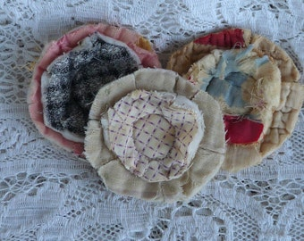 3 upcycled fabric flowers, cottage chic flower, gift top, lot flower supplies scrap flowers shabby upcycled quilt flower scrap appliques #31