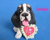 Black / tan Tri Color Basset Hound DOG I Love (heart) You Sculpture Clay art by Sallys Bits of Clay