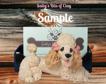 Blonde / Tan French Poodle dog Business Card / Cell Phone / Post It Note Holder OOAK sculpture by Sally's Bits of Clay