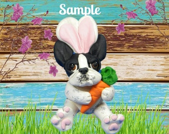 Black and White pied French Bulldog Easter Bunny & Carrot OOAK Polymer Clay dog art Sculpture by Sallys Bits of Clay