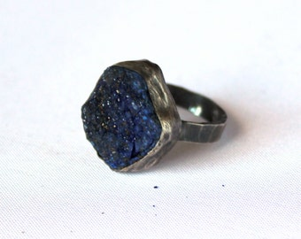 Raw royal blue azurite specimen ring sterling silver size 7