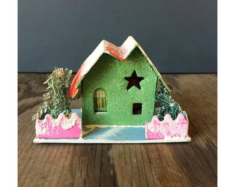 Putz House Ornament - Green House with Trees