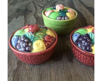1930s Serving Jars - Fruit Covered Lid - Set of 3 - Made in Japan