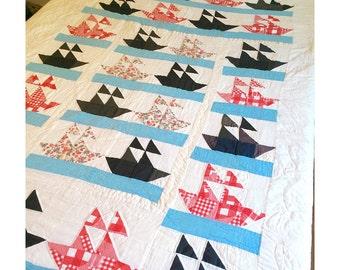 1950's Handmade Quilt - Sailboats Beach Quilt