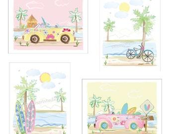 Surf Art Prints, Beach Art - Key West Art Prints For Girls Surf Beach Room, Beach Bedding Decor