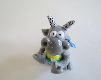 Silver Metallic Glitter Handmade Original Dragon with Bright Blus Polka Dot Wings by Shannon Ivins