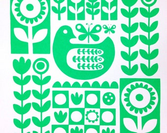 Green Scandi chicken screen print by Jane Foster - signed limited edition