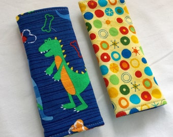 Reversible Car Seat Strap Covers - Dino Dudes in Blue - Seat Belt Covers