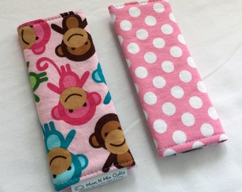 Reversible Car Seat Strap Covers - Monkeys in Spring - seatbelt covers for baby and kids
