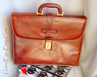Fine Leather Briefcase w OCS Combination Lock VARESE  Large size made in Italy Dark Brown Bag 1990s