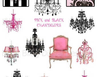 Pink and Black Chandeliers,  digital collage sheets  INSTANT DOWNLOAD  Perfect for collage, cards, atcs and tags