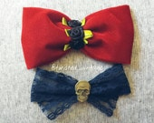 GOTHIC LOLITA Red Velvet Navy Lace Bow Set of 2 pcs Black Roses and Spooky Skull Centers