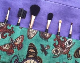 Makeup brush roll, Makeup brush case, crochet hook case, paint brush case, moths, steampunk