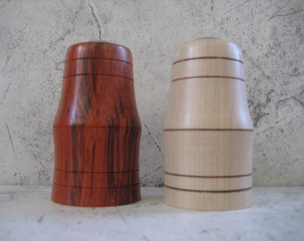 Hand turned Salt and Pepper Shakers (Maple and African Coralwood)