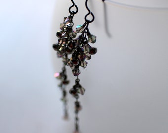 Long Cluster Earrings, Swarovski Crystal Dangle Earrings, Hypoallergenic Ear Wires, Gunmetal Chain and Headpins, Subtle Rainbow Crystals