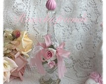 Vintage AVON Perfume Glass Bottle Shabby Chic Clay Roses Lace Ribbon svfteam ECS schteam sct