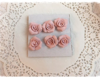 PUSHPIN Pink Handmade Clay Roses Set of 6 Thumbtacks SVFteam ECS sct schteam