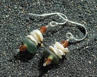 Sea glass earrings - sea glass jewelry - Pearl earrings - Alaska Beachglass jewelry - beach earrings - crystal earrings - sterling silver