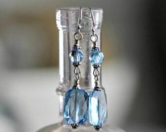 Sterling silver Swarovski Crystal earrings, Aquamarine, dangle earrings