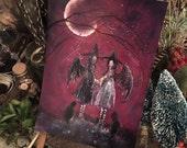 Terri Foss Art Print 5x7 from Original Painting Bat Cat Girl Victorian Moon Witch Witchcraft Yule Samhain Halloween Gothic Folk Art