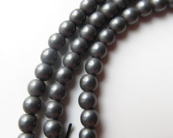 3.5mm Round Coated Hematite Beads, Gunmetal - One Full Strand