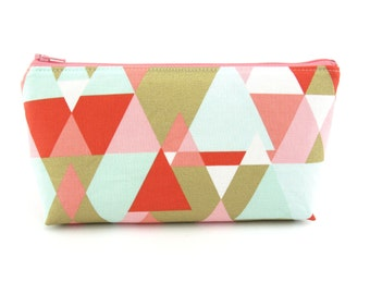 Coral and Gold Triangles Cosmetic Bag, Zip Pouch, Makeup Bag, Pencil Case, Zipper Bag