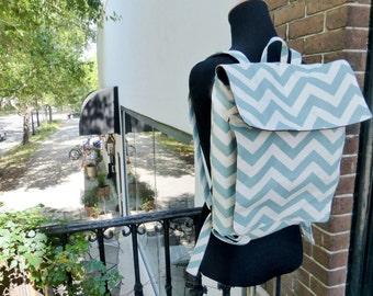 Cute Tween Teen Blue Chevron Feeding Tube Backpack - Custom Fabric Choices - DEEP Front Pocket for Quick Pump Access