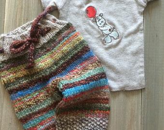 Newborn scrappy knit longies and lap t