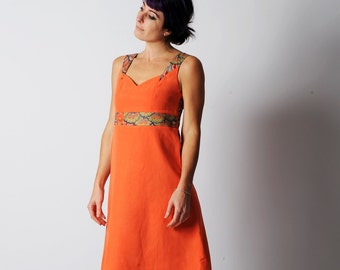 Bright orange dress, Coral orange empire waist dress with multicolored floral yokes, Womens floral orange sleeveless dress, size FR 38/ UK10