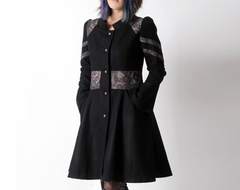 Flared black coat, Black winter wool coat with lace print details, small collar and flared sleeves - womens winter coat