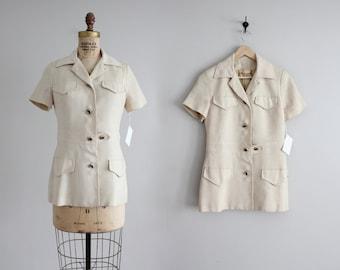 beige linen short sleeve jacket | vintage 60s jacket