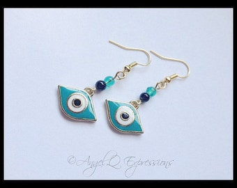 Mystical Eye Evil Eye Earrings in Gold with Teal and Black Glass Beads