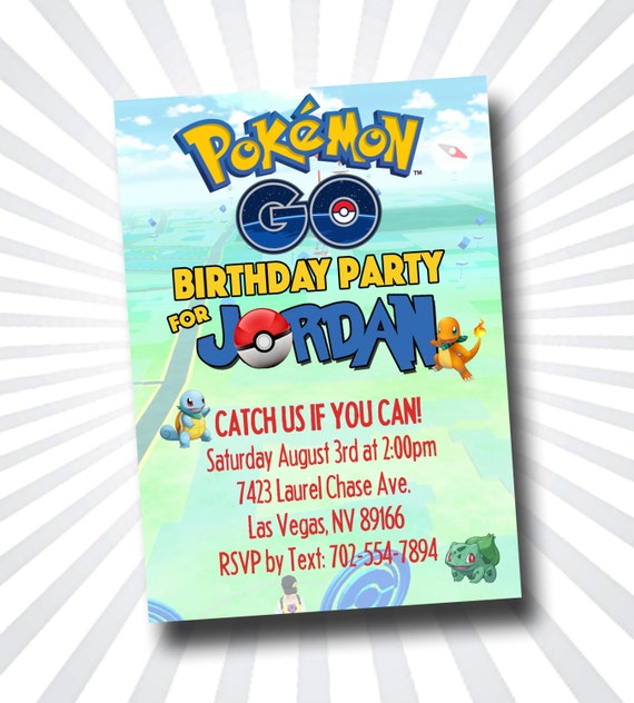 POKEMON GO Party Invitation 5x7 Inch Ready To Print Pokemon Go NOTHING MAILED TO YOU