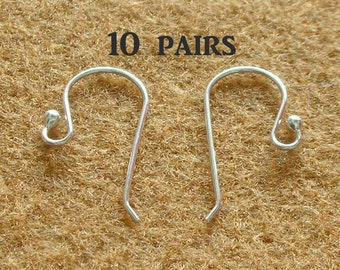 925 Sterling Silver Earring Hooks - EARWIRES WITH BALLS 21 Gauge - 10 Pairs(20 pieces)