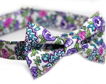 Floral Bow Tie Collar, Doggy BowTie Collar - Flowerista