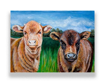 Cow Wall Art, Colorful Wall Art,  Baby Cows Artwork Print in size and matting options.  Beautiful!